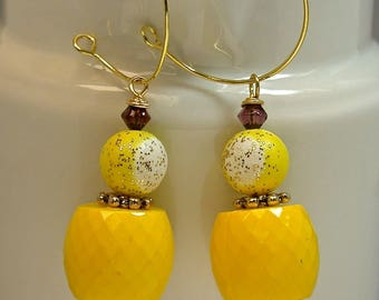 Vintage German Yellow Lucite Barrel Faceted Bead Dangle Drop Earring, Purple Crystal,Vintage Japanese Gold Glitter White Beads,Gold Hoops