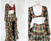 Vintage 1940s Burlesque Costume - Phenomenal Two Piece Plaid Fully Ruffled Cabaret Dancer Skirt with Open Front and Sequined Long Sleeve Top