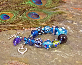 Mixed Blues Lampwork Bead Bracelet with Heart Toggle Clasp ~ Handmade Lampwork Glass ~ Sterling Silver