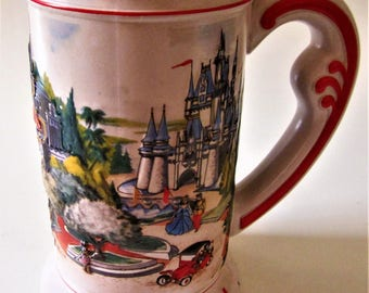 Walt Disney World Mickey Mouse Ceramic Glass 3D STEIN Mug Main Street Heavy Bottomed Raised Relief Embossed Tankard 80s Collectible Souvenir