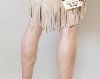 90s Vintage natural suede fringed Navajo skirt