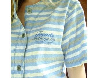 Striped 90s Fashion Basebell Tee Shirt - Vintage 90s - MEDIUM