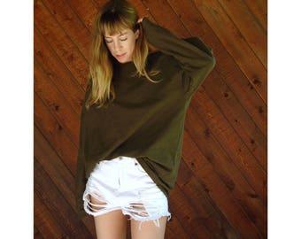 Oversized Pine Green Cotton Sweater Tunic - Vintage 90s - M