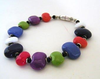Sterling Magnetic Kazuri bracelet  Multi - Opaque - Fair Trade certified - Flat Beads -