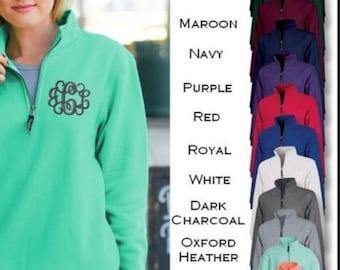 Monogrammed Quarter Zip Sweatshirt with pockets. Ladies Monogrammed Sweatshirt.  Monogrammed cadet collar sweatshirt.  Charles River ID-9359
