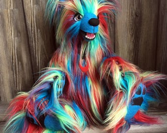 OMG bright rainbow fur artist teddy bear 18 inch jointed  by Karen Knapp of Tindle Bears