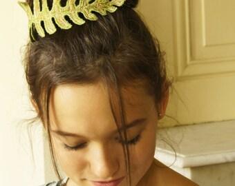Green Textile Fern Leaf Bun Wrap Botanical Fiber Art Hair Accessory Fiber Art Gift for Her