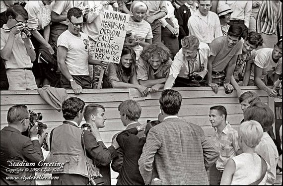 STADIUM GREETING, Robert F. Kennedy, Clyde Keller 1968 Photo