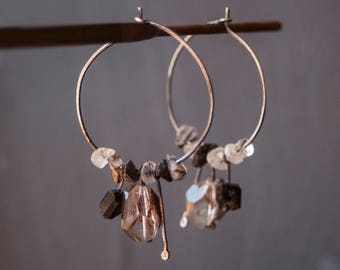 Hoop Sterling Silver Earrings / Fume Quartz Tourmaline Earrings / Black Grey Earrings