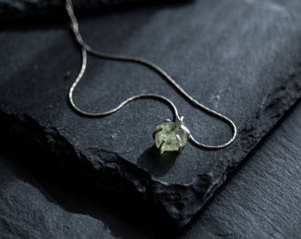 Raw peridot necklace / Sterling Silver Pendant /  Gemstone necklace / Tiny Silver Pendant / Rough Pendant / Green Necklace
