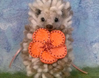 Needle-Felted Hedgehog with Removable Felt Flower Pin