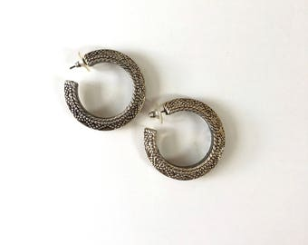 Tunja large hoops | vintage tribal hoop earrings | silver tribal earrings