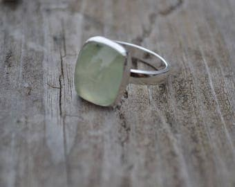 Prehnite Sterling Silver Ring Ready to Ship Size 8