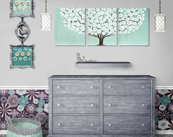 Art for Bedroom Large Tree Painting on Canvas Triptych in Sea Glass Teal and Brown Decor - 50x20