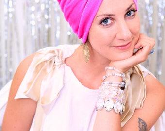 Velvet Turban Hat - Women's Fashion Headwrap in Raspberry - Bohemian Style Hair Accessories