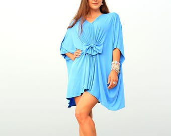 Beach Cover Up Dress in Jersey Knit - Mini Kaftan with Open Back - Swimsuit Cover-Up - Cornflower Blue - Lots of Colors