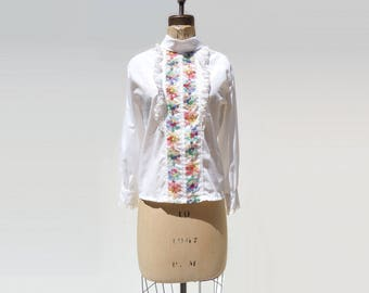 Vintage White Blouse Embroidered Blouse Ruffle White Blouse 60s White Blouse Boho White Blouse Vintage White Shirt High Collar Blouse m