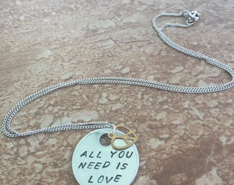 All You Need is LOVE - Hand Stamped Pendant Necklace, Key Chain or Bracelet