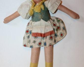 Vintage Cloth Doll,1930'd, Braided Hair, Made in Poland