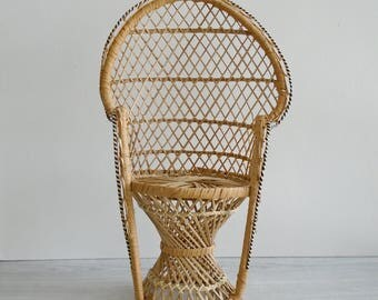 wicker chair plant stand, mini wicker chair, wicker doll chair, vintage bohemian decor, vintage plant stand, vintage doll furniture, small