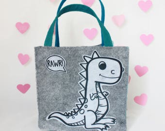 Felt Valentine's Day Bag//Dinosaur//Recycled Materials//Science Gift