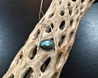 Labradorite Rose cut oval handcrafted pendant on chain.