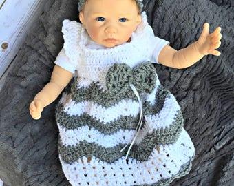 crochet baby dress/newborn dress/baby shower gift/Headband/Ready to ship/chevron dress/Sundress/baby dress/infant dress/headband with bow