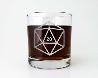 D20 Gamer Dice | Etched Old Fashioned Scotch Glass | DM Gift | Dungeon Master | Whiskey Glass | RPG | Dungeons and Dragons
