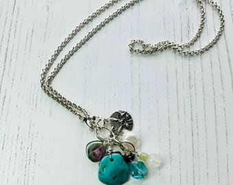 Sale - Turquoise Tourmaline Apatite Moonstone Pearl and GreenGarnet Necklace - Chain Necklace