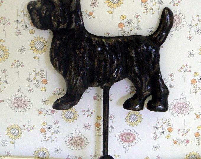 Dog Scottish Terrier Hook Cast Iron Shabby Chic BlackScottie Canine Vet Groomer Pet Puppy Lover Leash Hook Gift Idea
