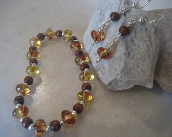 Amber and wood bead sterling bracelet and earring set