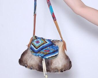 Vintage 70s SOUTHWESTERN Sling Bag DEER Fur Cross Body Bag American Indian BEADED Handbag Totem Medicine Bag