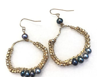 Black Pearl Earrings // Gold filled earrings