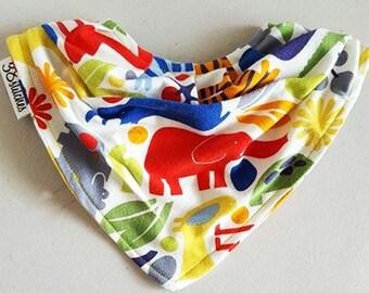Zoo Animals Bandana Bib - Drool Bib - Slouchy Bandana Bib - Bandana Baby Bib with Pearl Snaps -Jersey Knit Bandana Bib-Cute Bandana Baby Bib