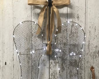 Lighted Angel Wings, Decorative Angel Wings, Christmas Angel, Guardian Angel, Lighted Angel, LED Battery Operated Wreaths, Lighted Wreaths