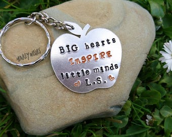 TEACHER gift - Apple shaped keyring, keychain. Big hearts INSPIRE little minds.