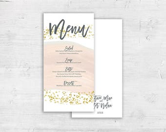 Gold Glitter Brush Stroke Design Flat Wedding Menu, Dinner Reception Menus