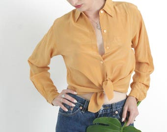 Vintage 70s Turmeric Silk Blouse | Vintage Yellow Orange Silk Button Down | Small S Medium M Large L