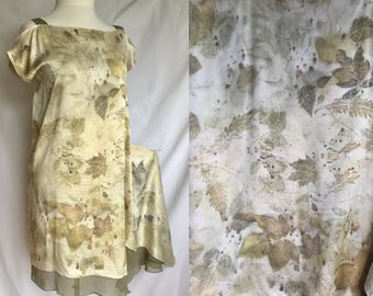 Silk charmeuse dress, Natural Dyeing on Silk, Eco leaf flower, Contact dyeing, Eco Natural Plant Dyed, Eco Friendly