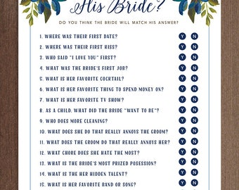 What Did He Say About His Bride Game Yes or No   Printable Bridal Shower Game   DIY Instant Download   Updated Questions