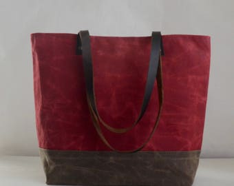 Chili Red Waxed Canvas Tote Bag with Leather Straps - Ready to Ship