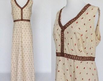 70's Long  Empire Waist Dress / Sleeveless Maxi Dress / Eyelet / Brown Floral Print / XXL