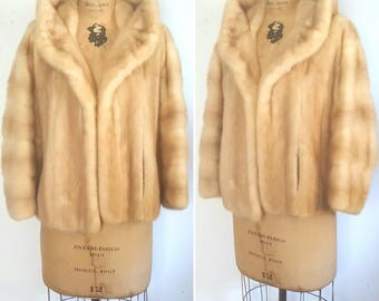Blonde Mink Fur Stole Jacket / bridal wedding coat / Small