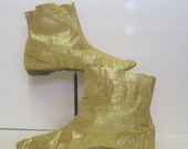 Vintage 60s Gold Ankle Booties Shoes, Mod Lame Space Age Go Go Ankle Boots, Flat Heel, Pull On, Pointed Toe, Bertlyn New York, Size 8-9