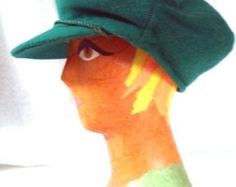 Vintage 60s Cap in Green Sz S