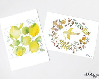 Cute lemon card, Bird card, Cute stationery, Cute bird, Bird illustration, Yellow lemon design, Cute cards, Watercolor, Anniversary card