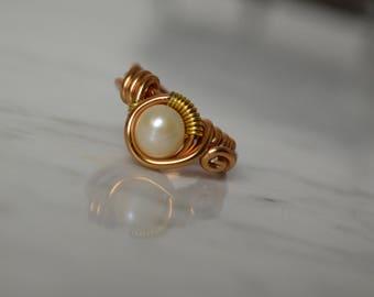 Gold Pearl Rings, Wire Wrap Rings, Pearl Ring,  Modern Ring, June Birthday, Boho Ring, Handmade Ring, Gift for Her, Christmas Gift,