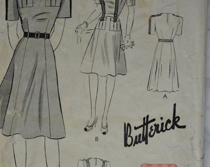 1940s Butterick Dress Pattern, 40s Dress Pattern,Safari Dress Pattern, Jumper Dress Pattern, Vintage Dress Pattern,Pattern, No 1411