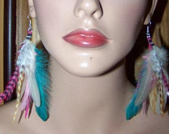 Pink Feather Earrings, Green Feather Earrings, Blonde Real Feather Earrings, Short Feather Earrings, Real Feather Earrings, Real Feathers