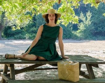 Green Retro Dress, Summer Sleeveless Dress with Pockets, Rockabilly Retro Dress, Cotton Casual Party Date Dress, Swing Modern Pinup